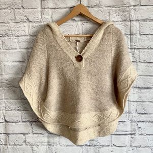 FREE PEOPLE Knit Poncho Cape with Hood